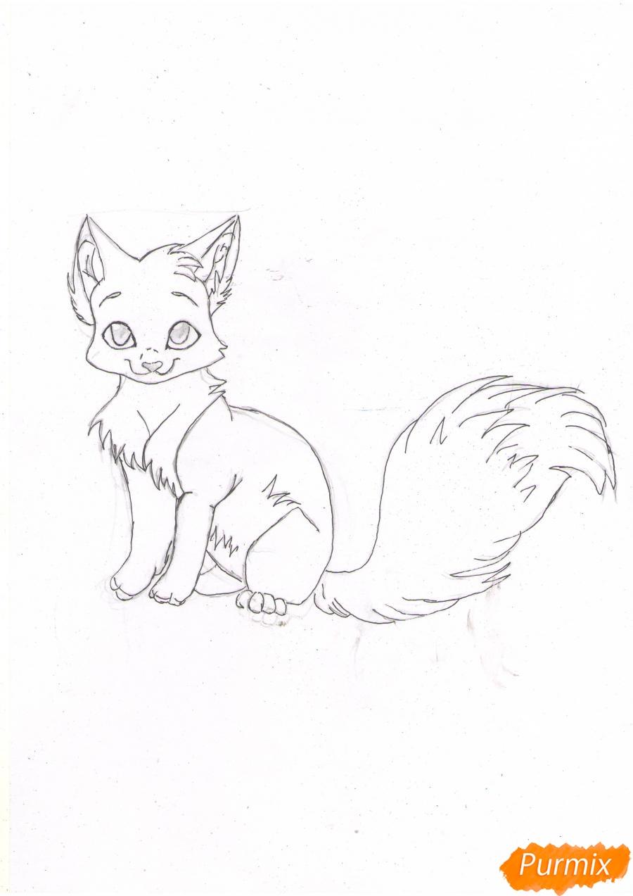 Рисуем аниме кошку цветными карандашами - шаг 4