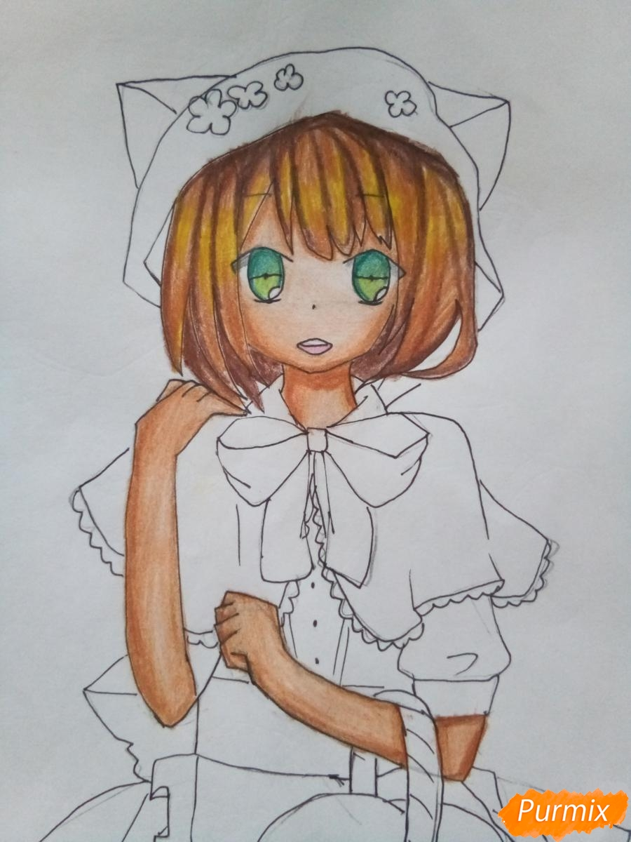 Рисуем красную шапочку в стиле аниме - фото 10