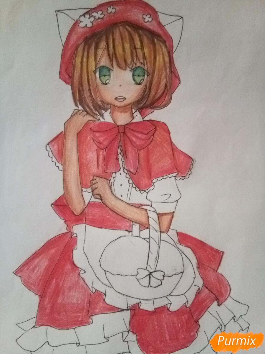 Рисуем красную шапочку в стиле аниме - шаг 11