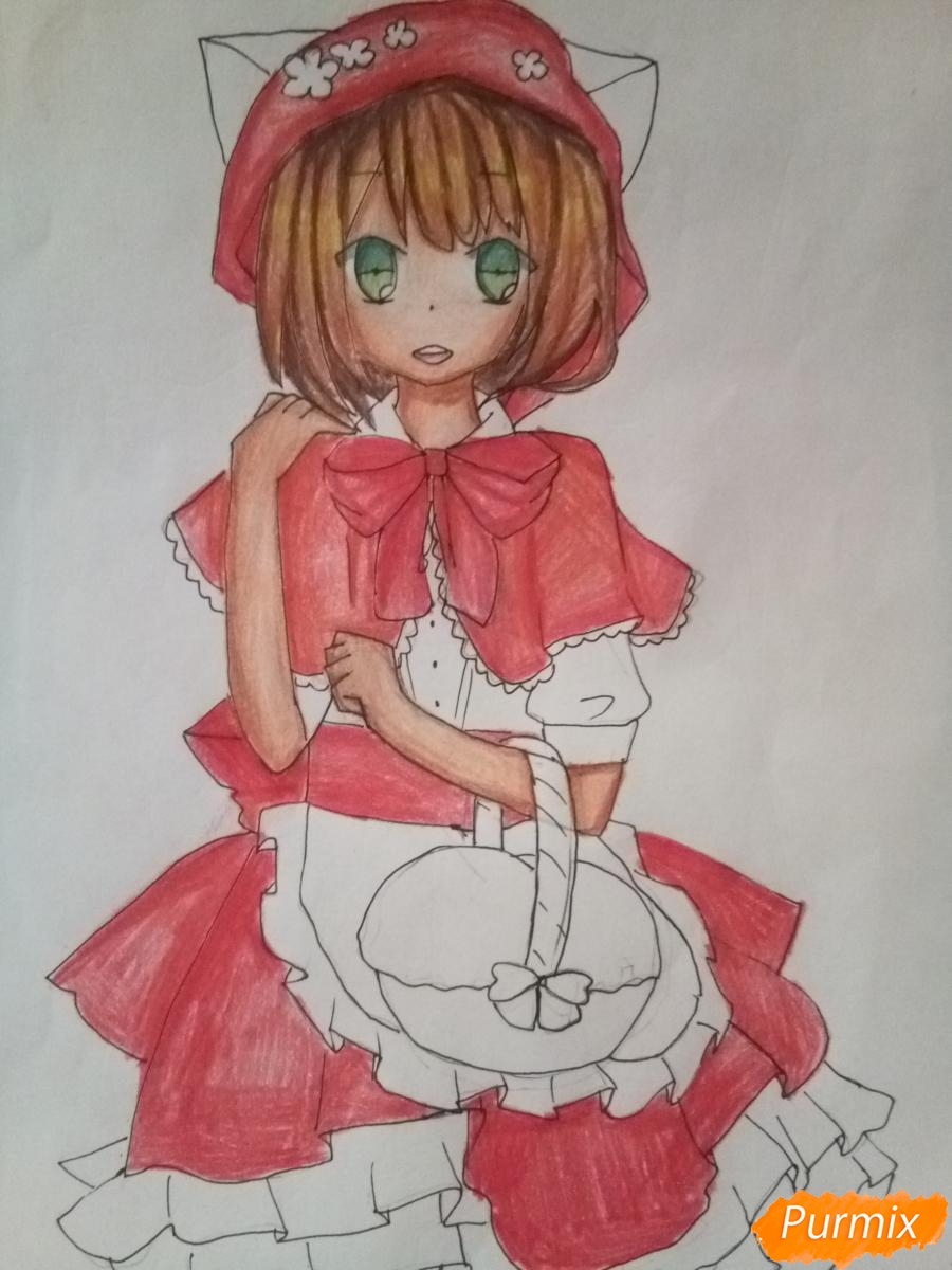 Рисуем красную шапочку в стиле аниме - фото 11