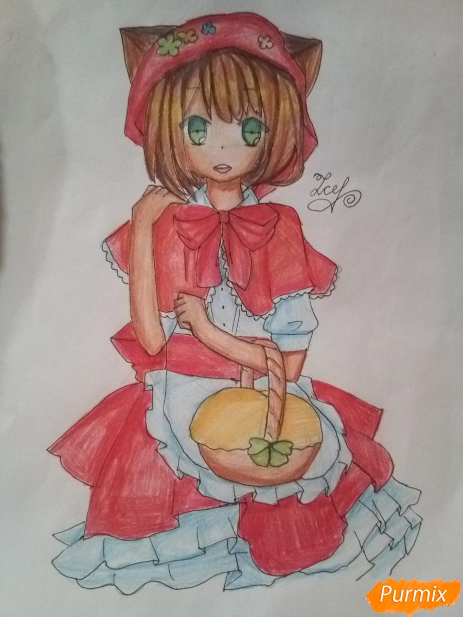 Как нарисовать красную шапочку в стиле аниме поэтапно