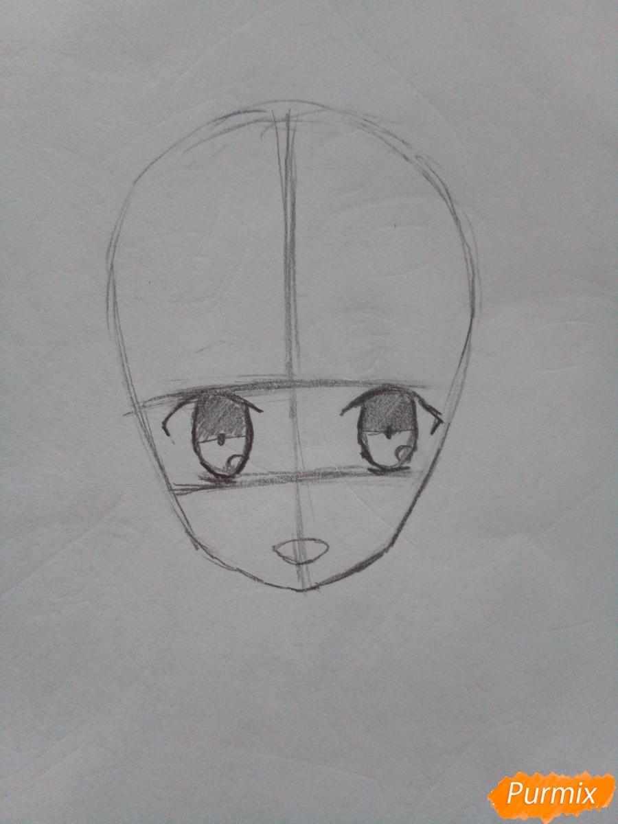 Рисуем красную шапочку в стиле аниме - шаг 2