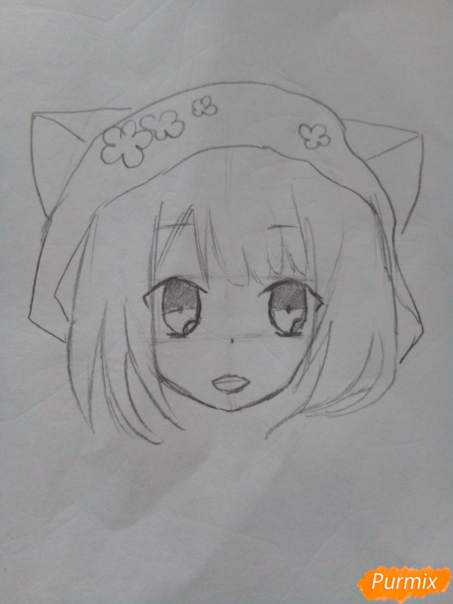 Рисуем красную шапочку в стиле аниме - шаг 4