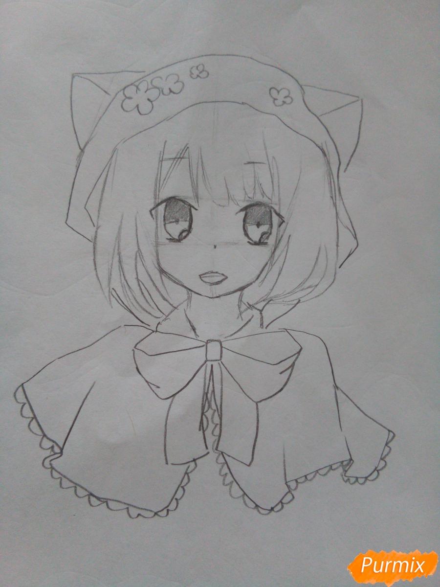 Рисуем красную шапочку в стиле аниме - шаг 5