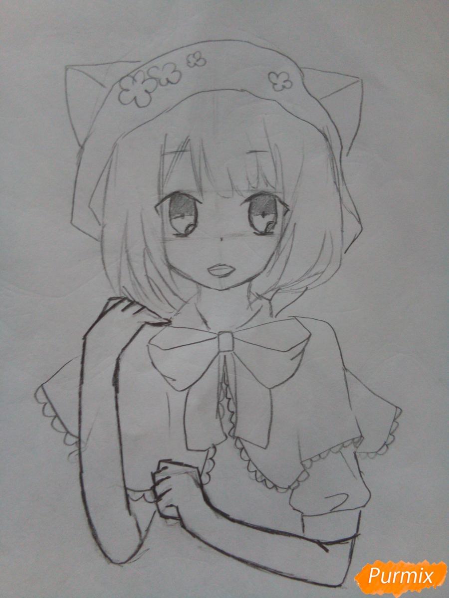 Рисуем красную шапочку в стиле аниме - шаг 6