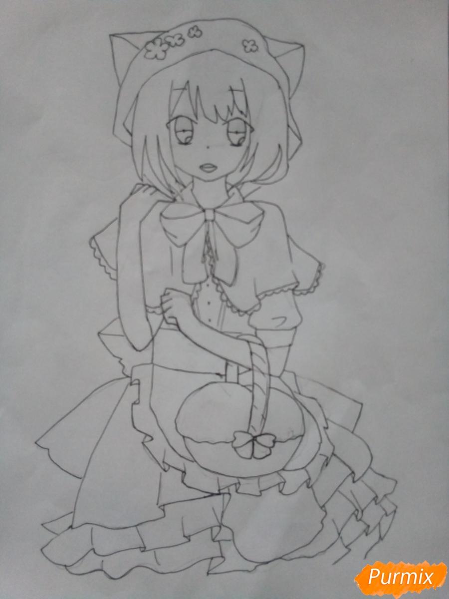 Рисуем красную шапочку в стиле аниме - шаг 8