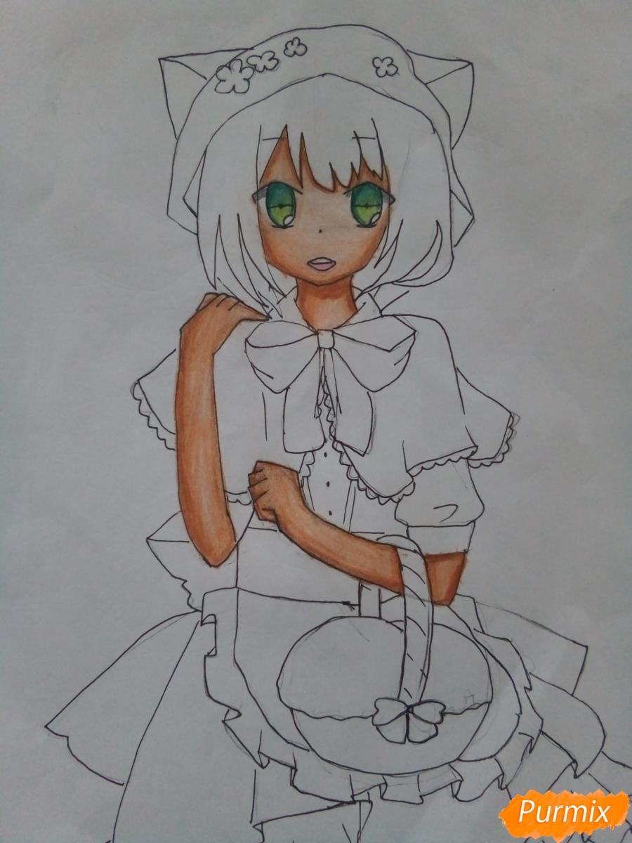 Рисуем красную шапочку в стиле аниме - фото 9