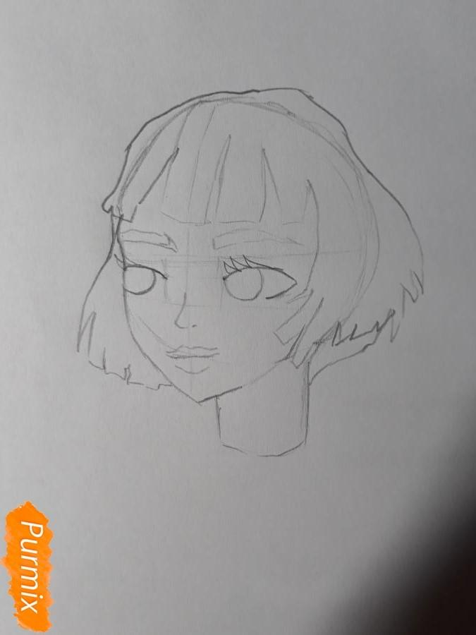 Рисуем Матильду в аниме стиле из Леон киллер карандашами - фото 3