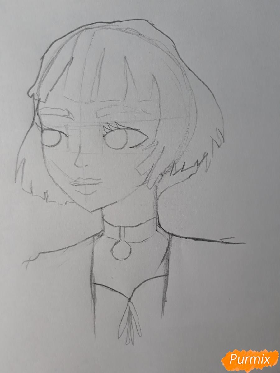 Рисуем Матильду в аниме стиле из Леон киллер карандашами - фото 4