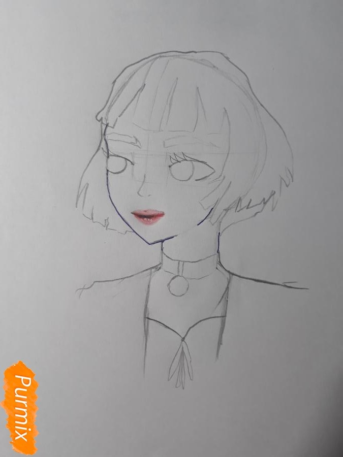Рисуем Матильду в аниме стиле из Леон киллер карандашами - фото 5