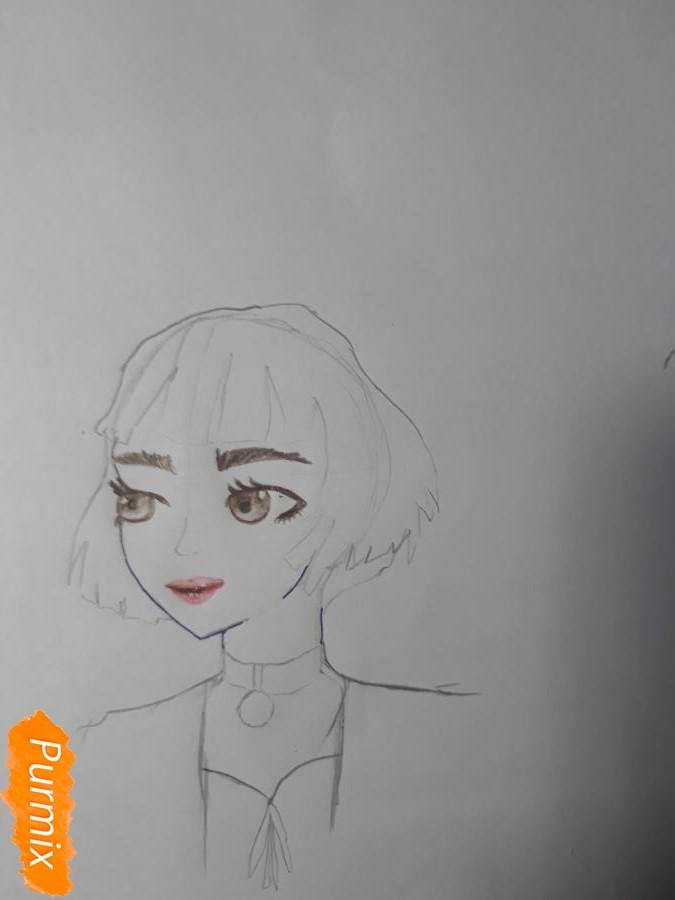 Рисуем Матильду в аниме стиле из Леон киллер карандашами - фото 6