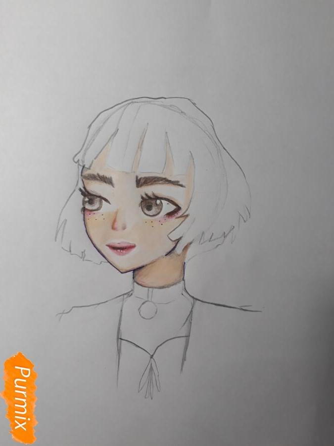 Рисуем Матильду в аниме стиле из Леон киллер карандашами - фото 7