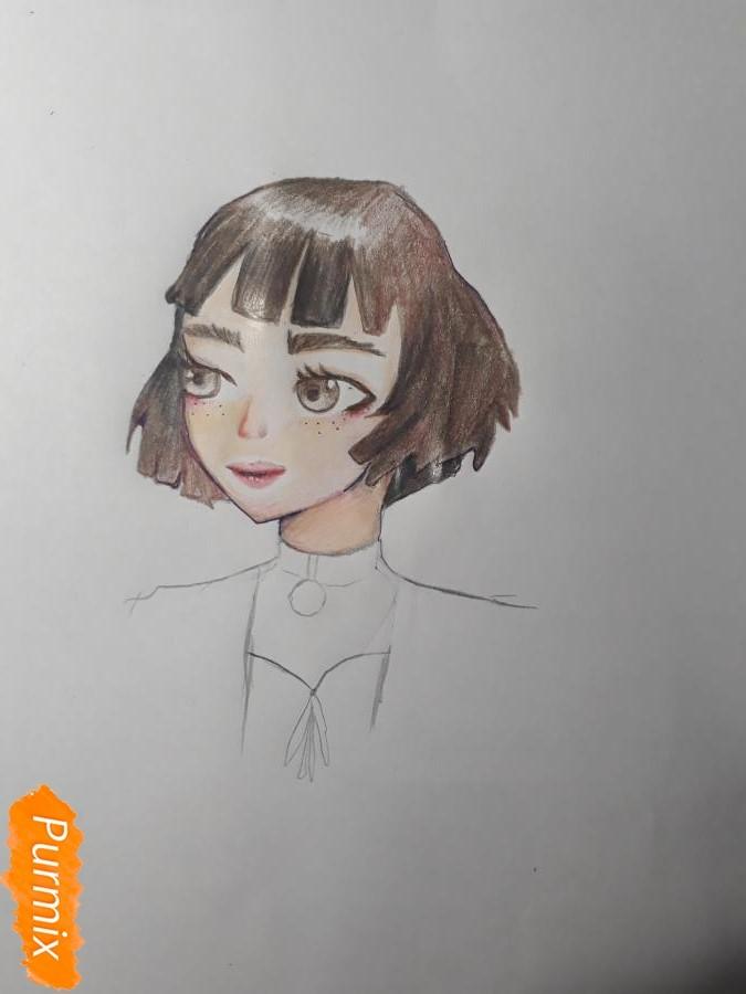 Рисуем Матильду в аниме стиле из Леон киллер карандашами - фото 8