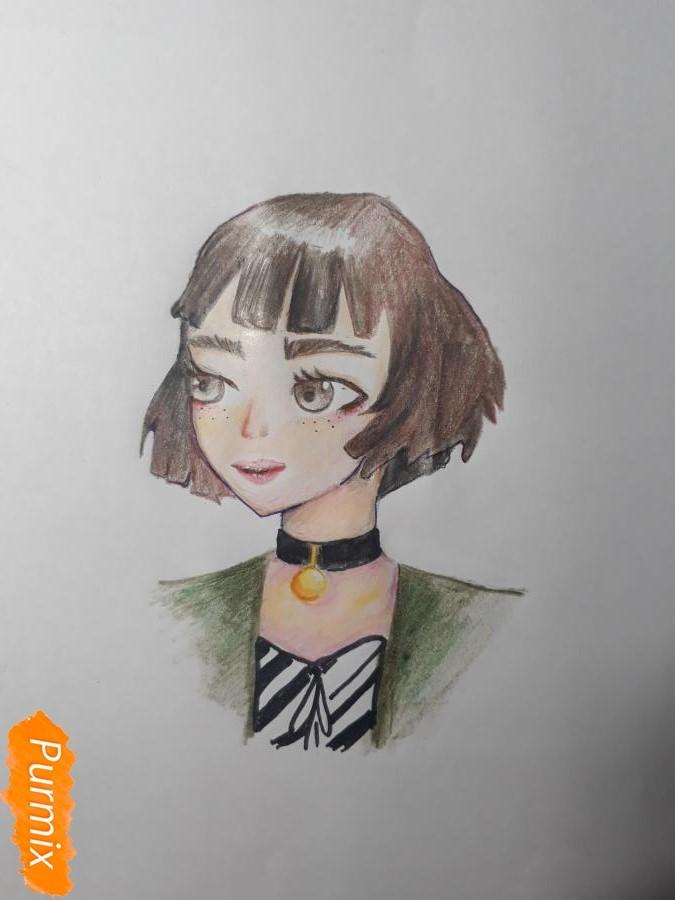 Как нарисовать Матильду в аниме стиле из Леон киллер карандашами поэтапно