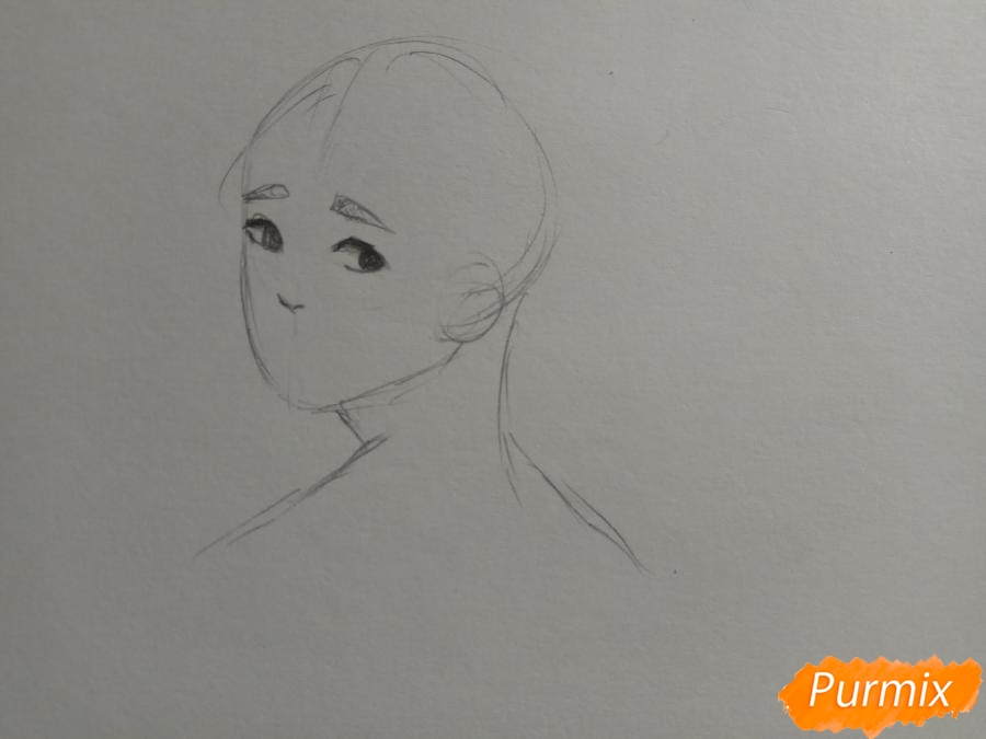 Рисуем аниме парня с ушками карандашами - шаг 3