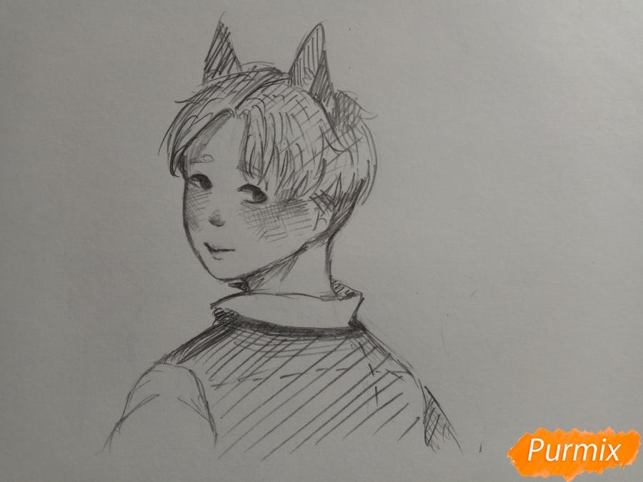 Рисуем аниме парня с ушками карандашами - шаг 7