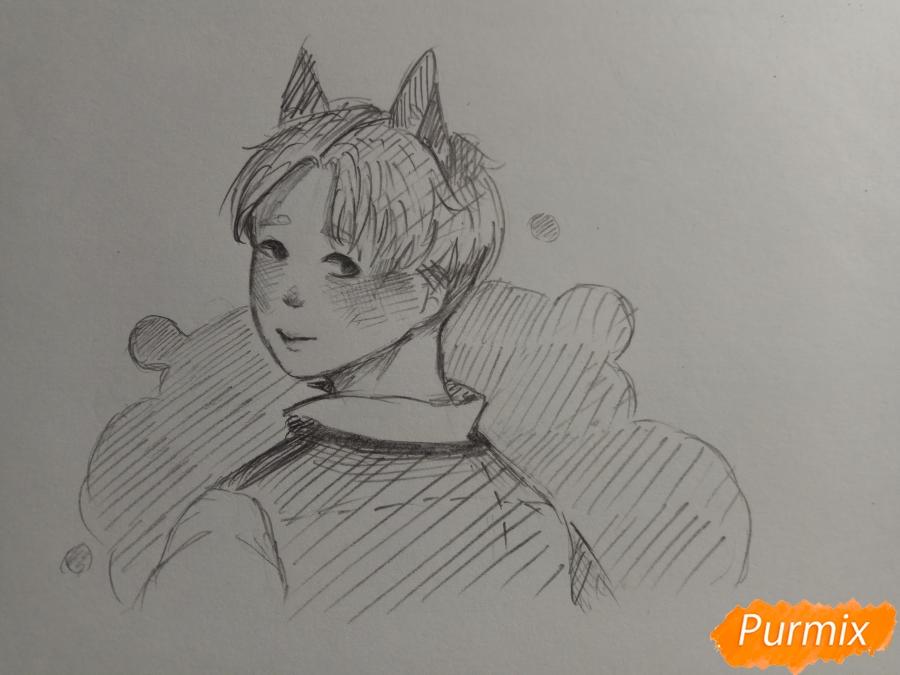 Как нарисовать аниме парня с ушками карандашами поэтапно