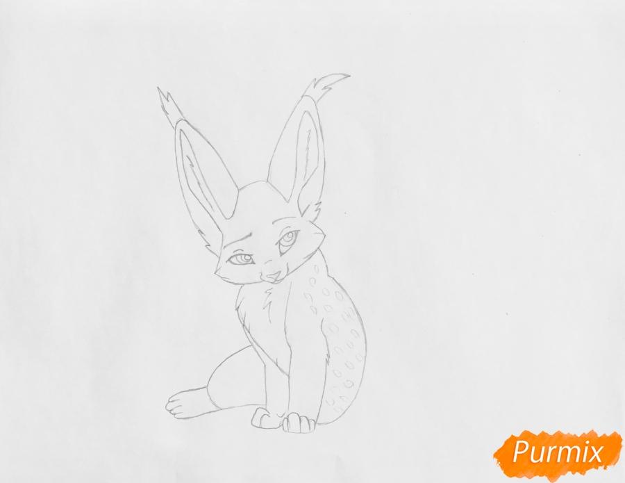 Рисуем аниме рысь карандашами - шаг 4