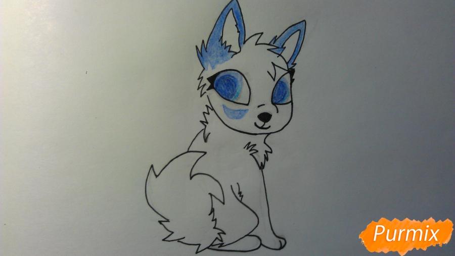 Рисуем аниме щенка с голубыми глазами - фото 6