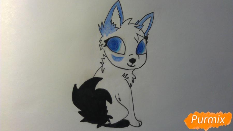 Рисуем аниме щенка с голубыми глазами - фото 7