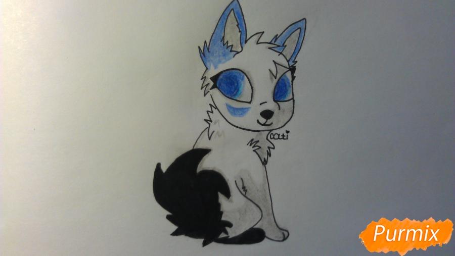 Рисуем аниме щенка с голубыми глазами - фото 8