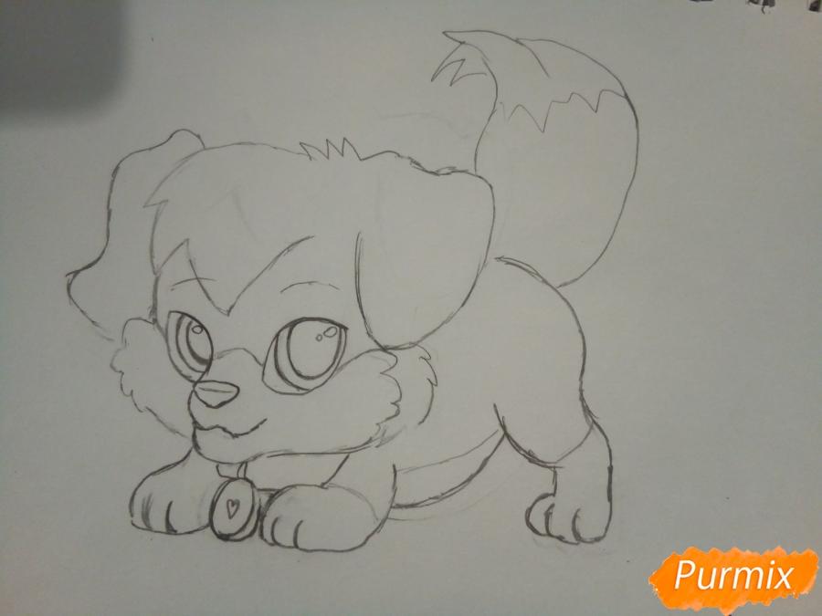 Рисуем аниме щенка с красными глазами - фото 4