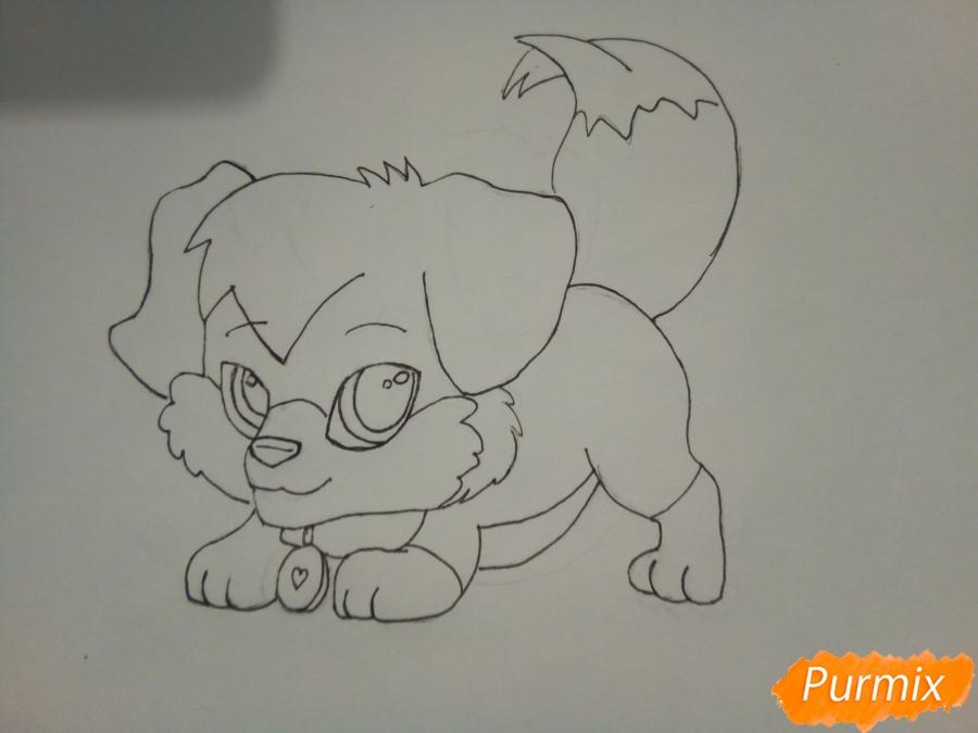 Рисуем аниме щенка с красными глазами - фото 5