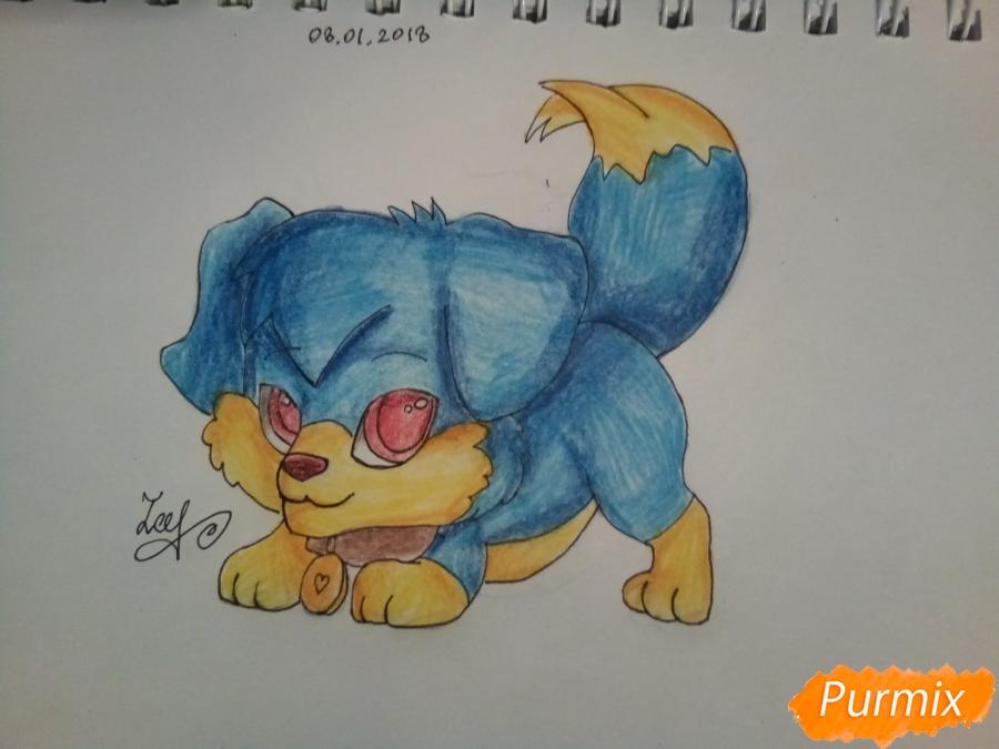Рисуем аниме щенка с красными глазами - фото 7