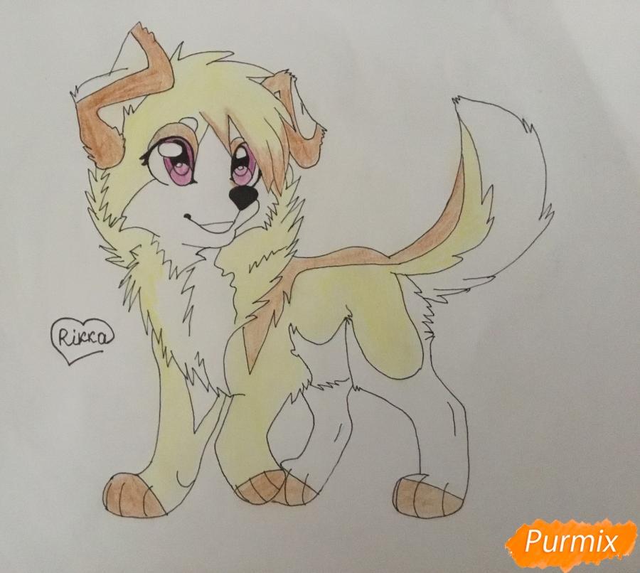 Учимся рисовать аниме собаку карандашами - шаг 10