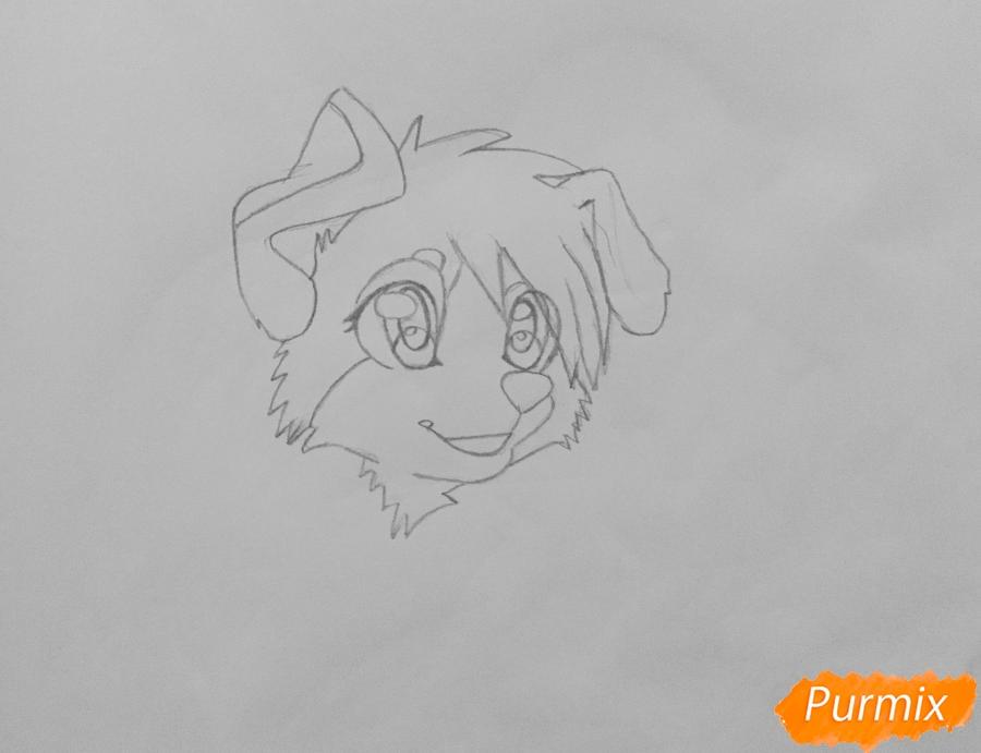 Учимся рисовать аниме собаку карандашами - шаг 3