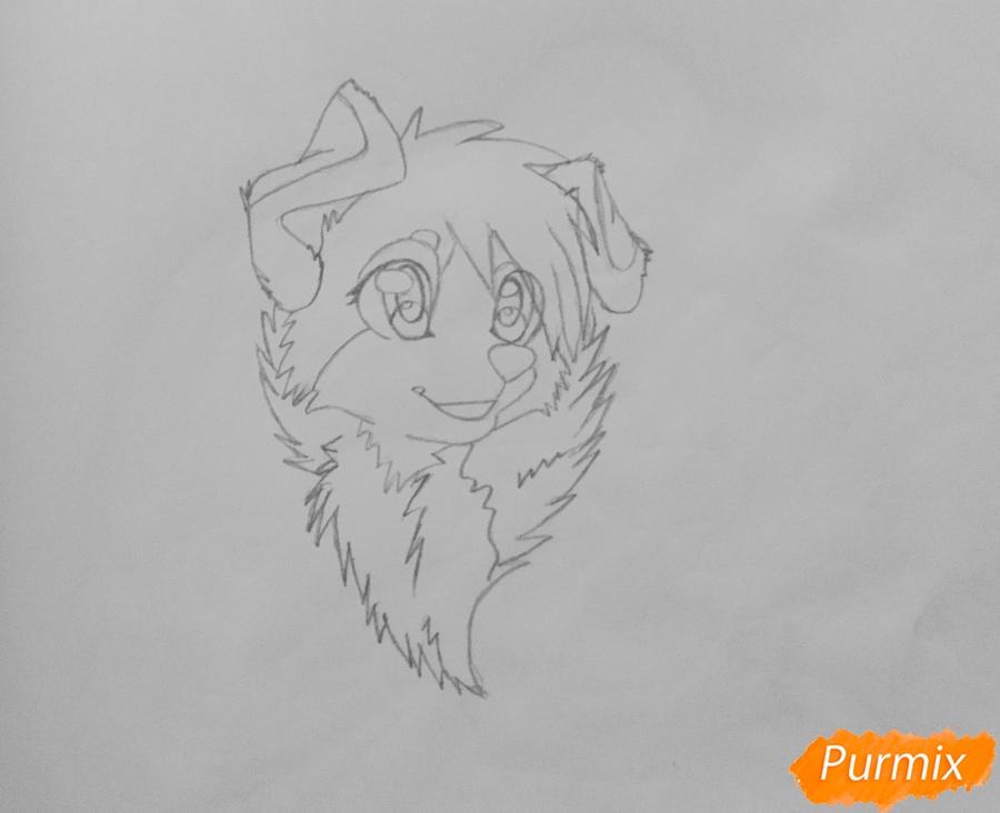 Учимся рисовать аниме собаку карандашами - шаг 4