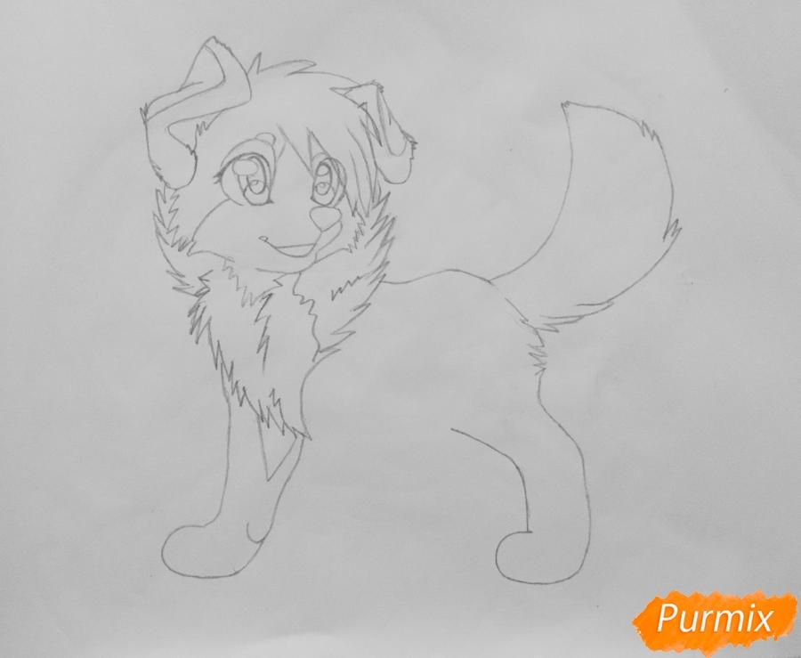 Учимся рисовать аниме собаку карандашами - шаг 5