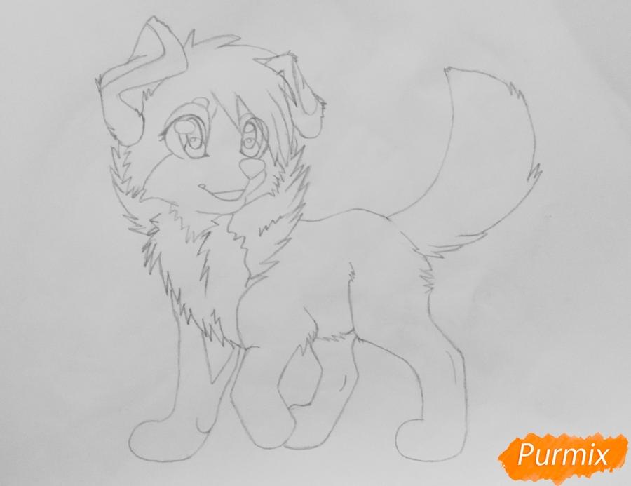 Учимся рисовать аниме собаку карандашами - шаг 6