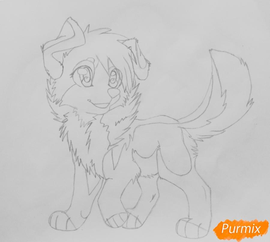 Учимся рисовать аниме собаку карандашами - шаг 7