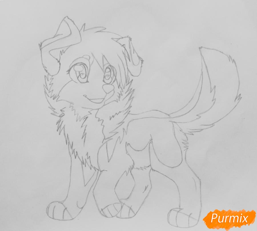 Рисуем милую аниме собачку - шаг 7