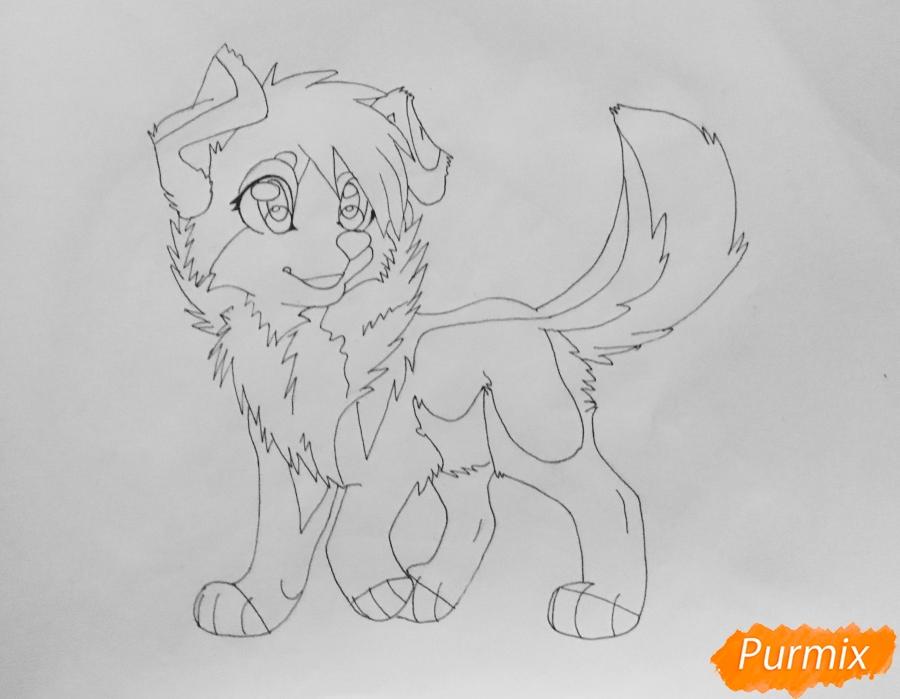 Учимся рисовать аниме собаку карандашами - шаг 8