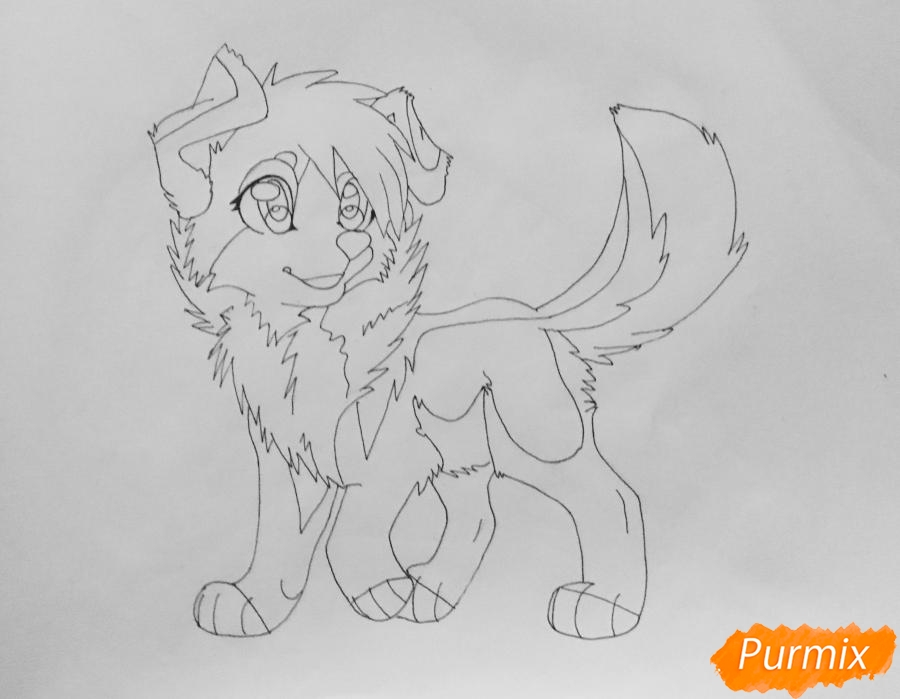 Рисуем милую аниме собачку - шаг 8