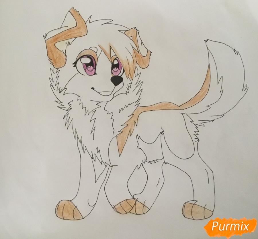 Учимся рисовать аниме собаку карандашами - шаг 9