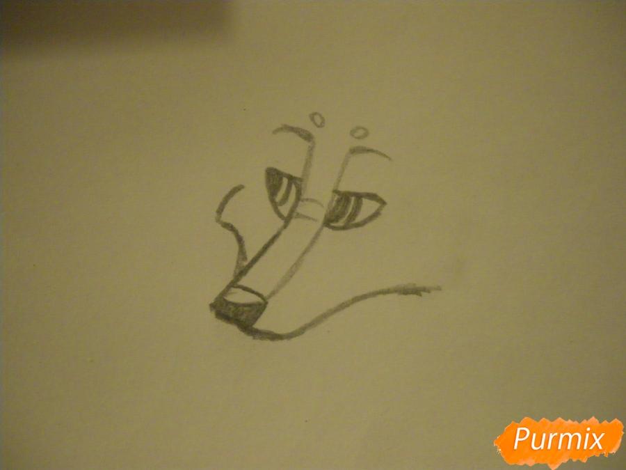 Рисуем аниме собаку с коричневым окрасом - шаг 2