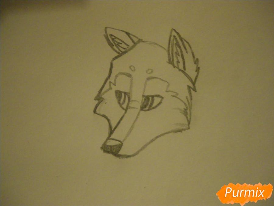 Рисуем аниме собаку с коричневым окрасом - шаг 3
