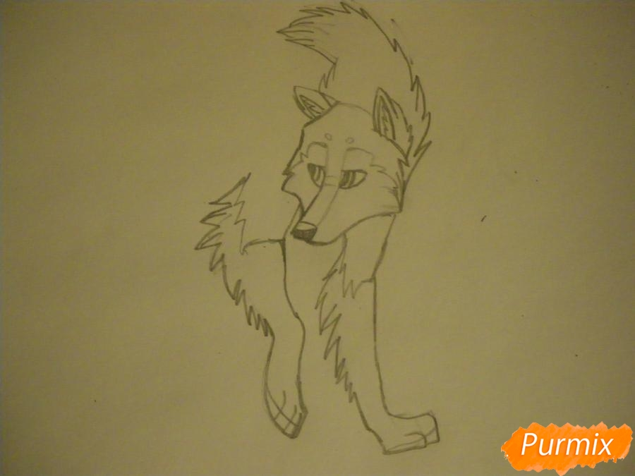 Рисуем аниме собаку с коричневым окрасом - шаг 5