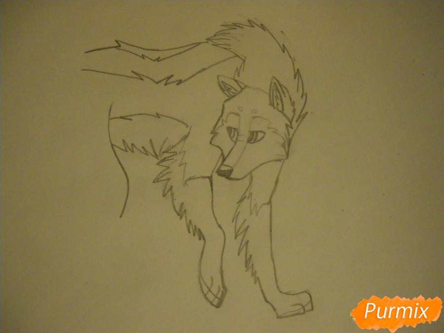 Рисуем аниме собаку с коричневым окрасом - шаг 6