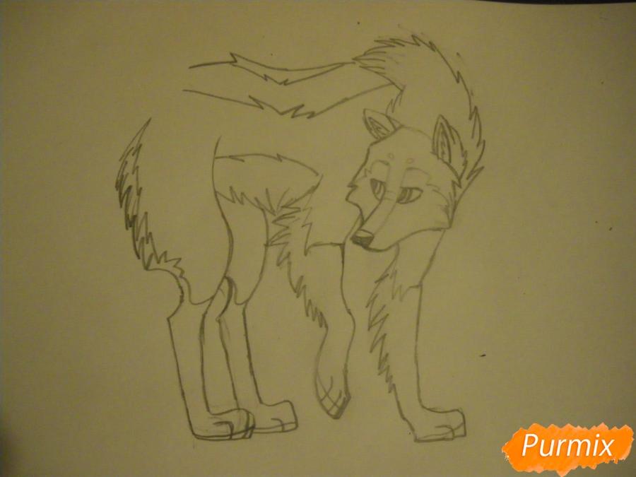 Рисуем аниме собаку с коричневым окрасом - шаг 7