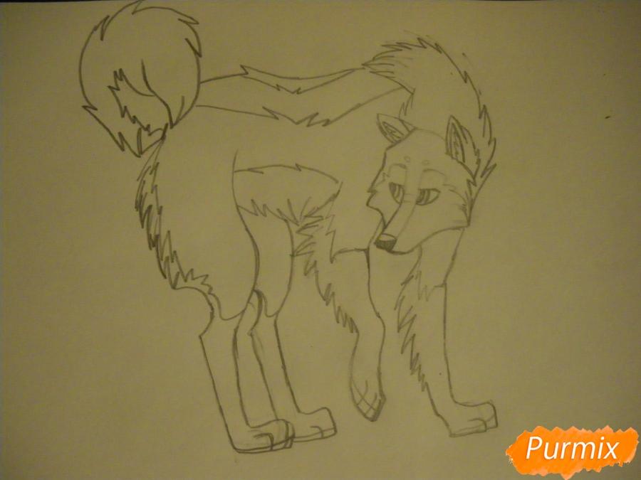 Рисуем аниме собаку с коричневым окрасом - шаг 8