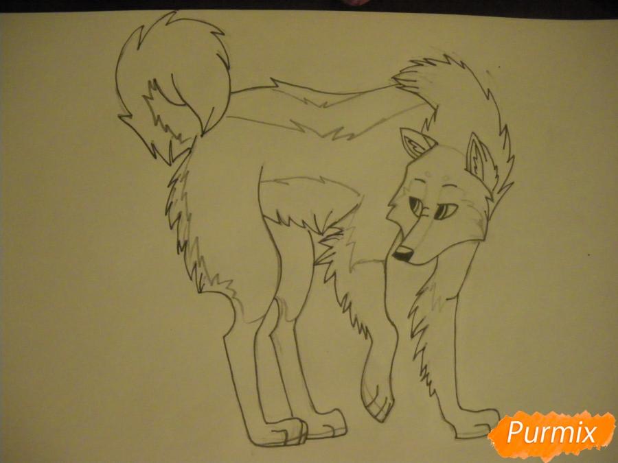 Рисуем аниме собаку с коричневым окрасом - шаг 9