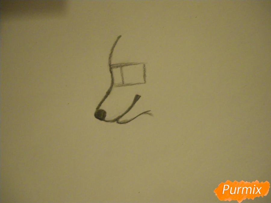 Рисуем аниме собаку с зелёными глазами - шаг 1