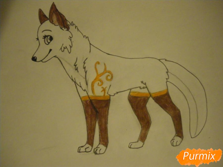 Рисуем аниме собаку с зелёными глазами - фото 10