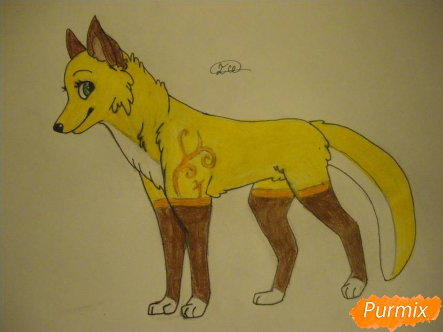 Рисуем аниме собаку с зелёными глазами - фото 11
