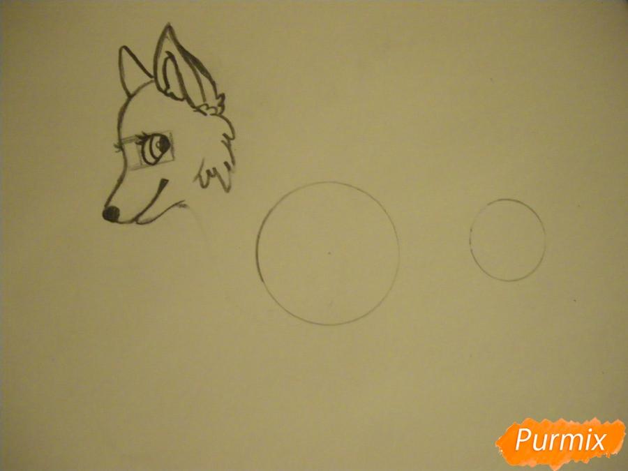 Рисуем аниме собаку с зелёными глазами - шаг 3