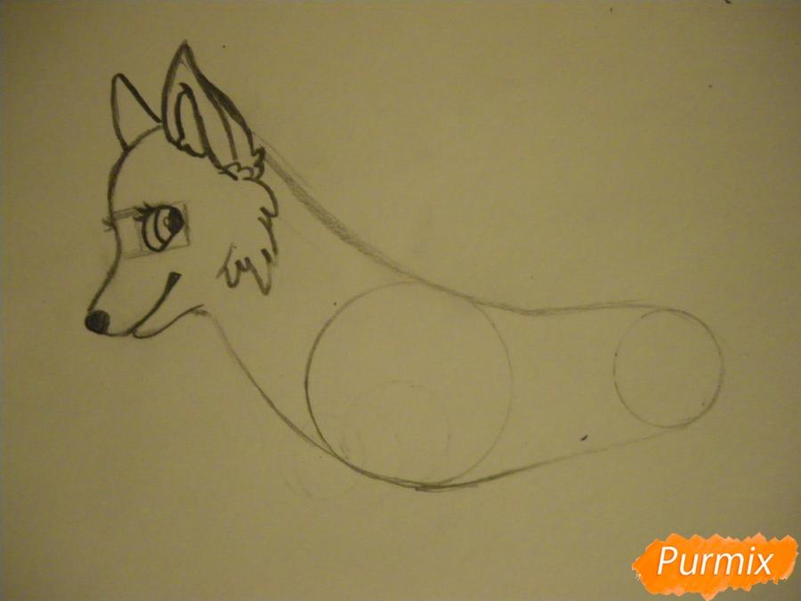 Рисуем аниме собаку с зелёными глазами - шаг 4